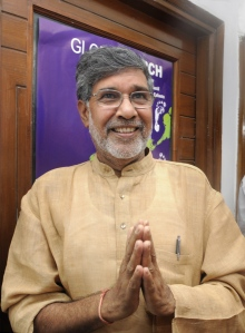 Kailash Satyarthi after it was announced that he was a recipient of the 2014 Nobel Peace Prize. Photo courtesy Time.