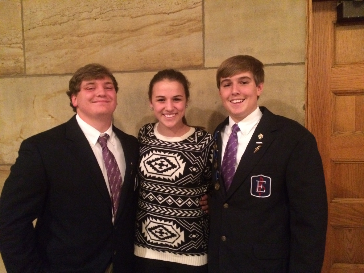 Pictured from left to right:   Andrew Fieler, Emma Bley, and John Capannari after the Elder Glee Club concert.