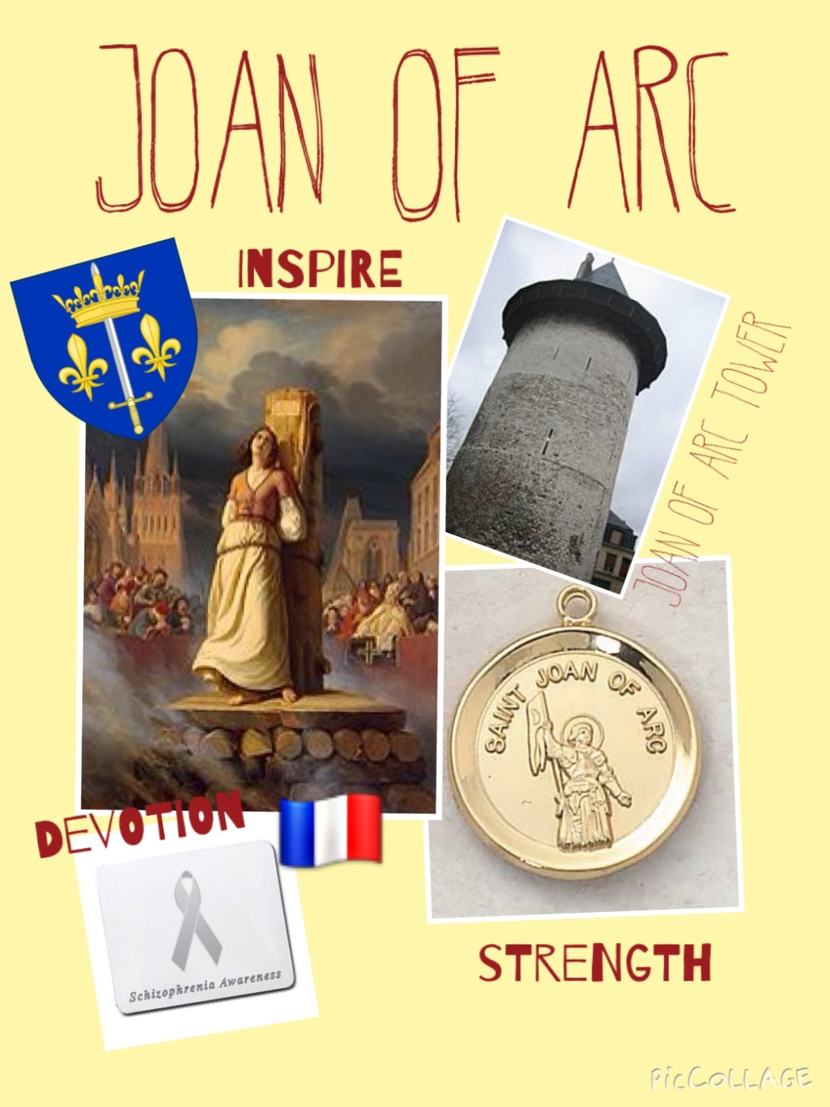 Lastly, I chose to do my project on Joan of Arc. As a mentally ill person, her story resonates deeply with me. Joan showed symptoms of schizophrenia and is an important historical figure in mentally ill communities. Photo courtesy Olivia Short '17