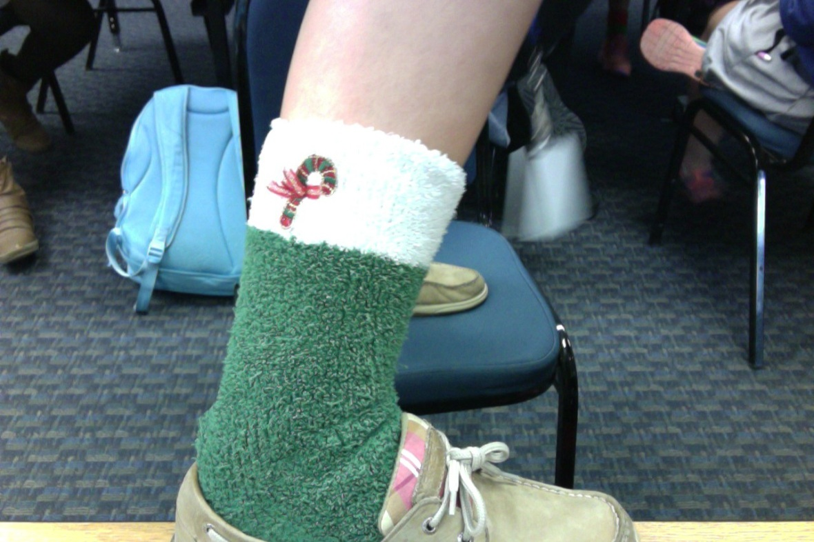 Senior Shannon Ferrier gives the blog an exclusive close up on her Christmas socks.