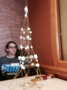 One of the towers built from spaghetti, tape, and marshmallows.