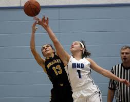MND guard Maddy South goes up for a rebound against McAuley's Sydney Lambert