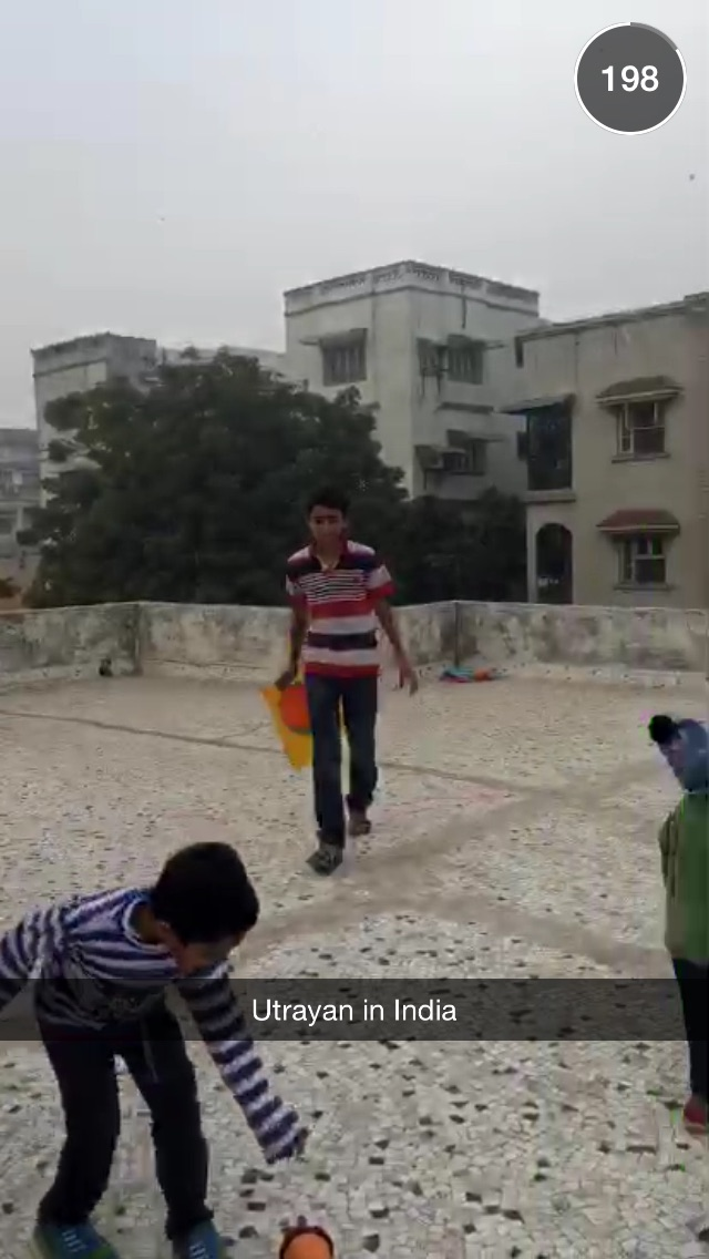 A family celebrating Uttarayan with kite flying. Photo courtesy to Snapchat.
