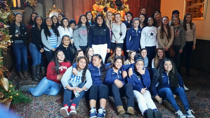 All three Mercy Basketball teams together at the brunch they attended together.  (Mercy Burlingame, Cincinnati Mercy, and Mercy San Francisco)