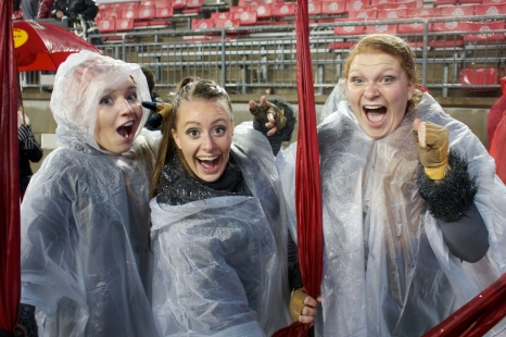 Despite the freezing rain, Sarah Erb (McAuey '15), Molly Murphy (McAuley '16), and I cheese for the camaras at the State game.