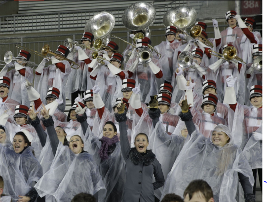The band plays the fight song as La Salle scores on their way to victory.
