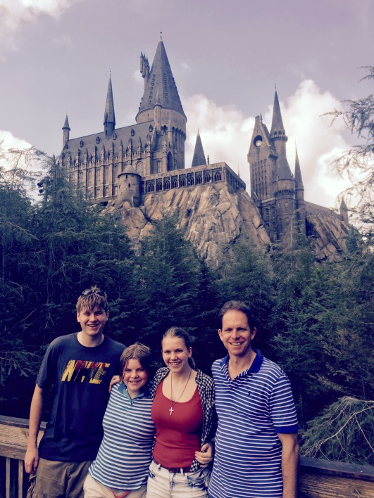 Me with my family in front of the Hogwarts castle.