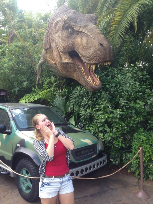 Oops, they said don't feed the dinosaurs... I think I might be this T-rex's next meal.