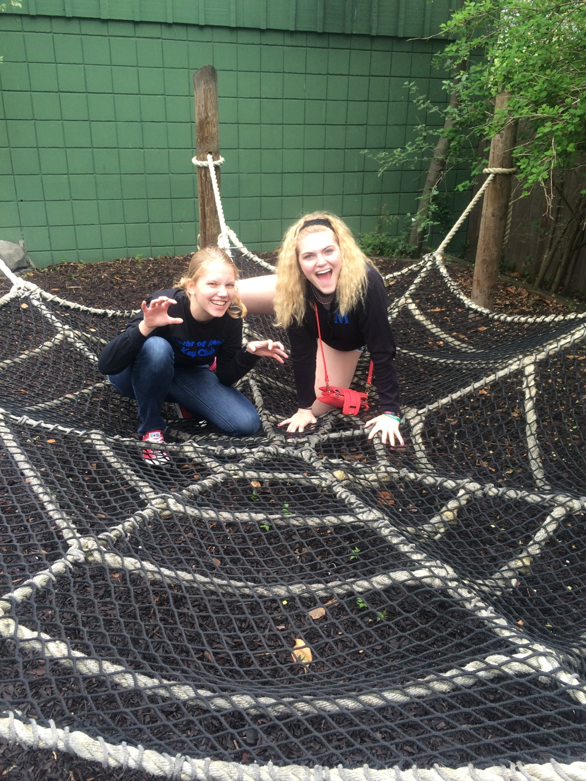Sara and Casey '15 are trying out their Spidey-powers