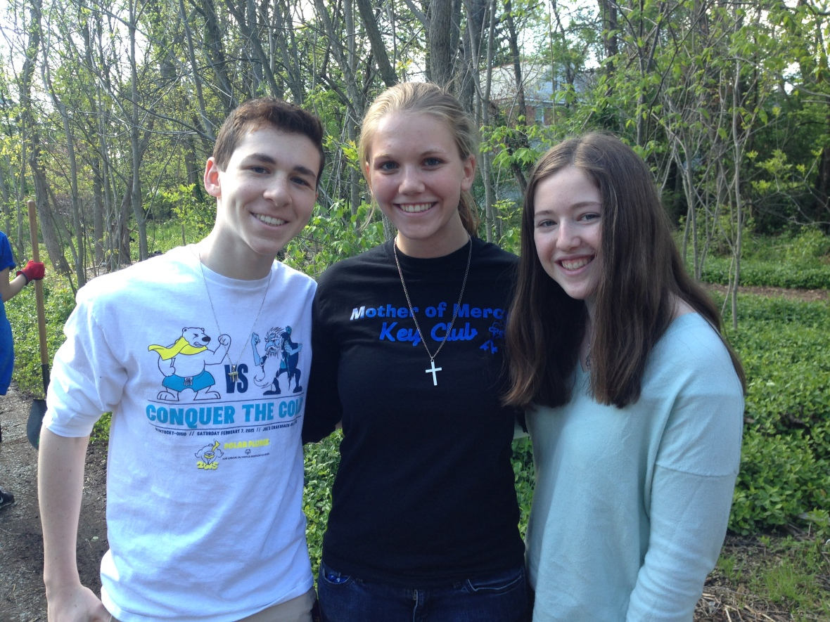 From left: Micah Bachrach a Jewish student from Seven Hills '17, Sara Dressman a Catholic student from Mother of Mercy '15, and Jessie Gallop a Jewish student from Walnut Hills '17.
