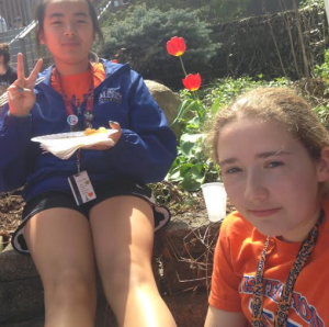 Sophomores taking selfies with the food because its that good. (Photo courtesy: Olivia Short).