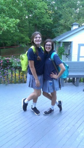 My older sister and I on the first day of school all those months ago.
