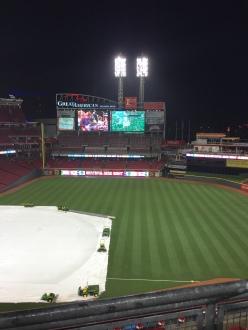 Empty and soaked stadium