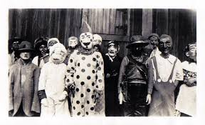 1930, people finally bought store-bought costumes, not that they didn't look any less terrifying, but kids were were finally dressing up as other things rater than just scarecrows.